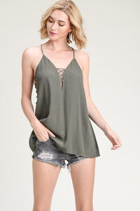 Kelli's 'Side Laced' Cami- Olive