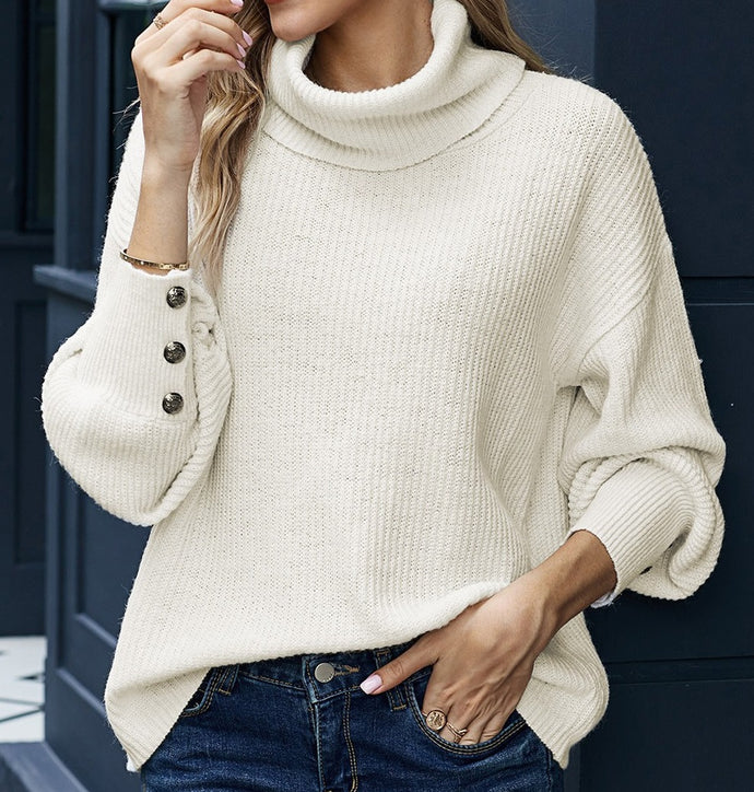Savannah's Turtleneck Knit Sweater- Cream