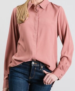 Madison's 'Must Have' Button Down Shirt - Mauve