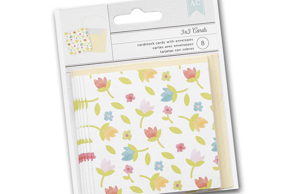 Mini 3x3 floral folded cards and envelopes