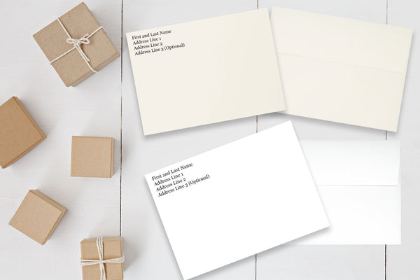 White or Natural A7 Discount 70 lb Envelopes with Return Address