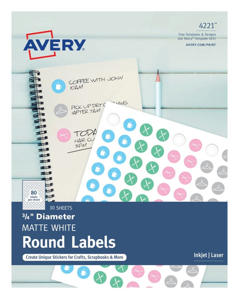 Printable White Seals or Candy Labels .75 inch round - 800 Labels