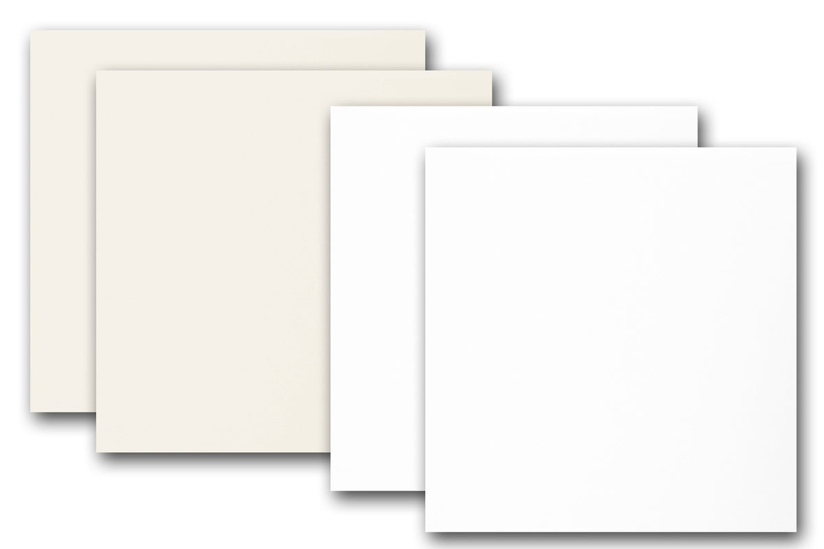 White and Natural 5.5 inch square card stock