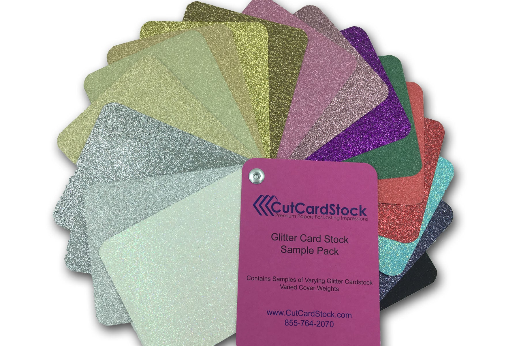 glitter sample swatch book of choosing colors for diy invitations
