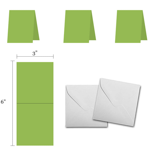 Blank Green 3x3 Folded Discount Card Stock and Envelopes