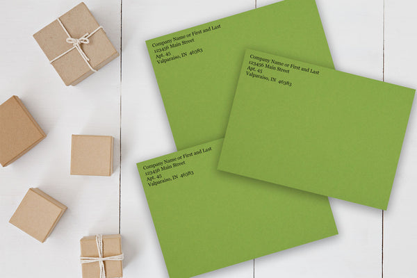 Green A7 Discount Envelopes for 5x7 Holiday cards with return address