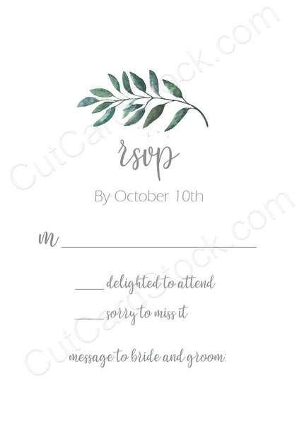 White RSVP Card with greenery
