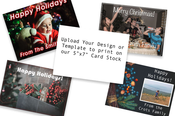 Upload and Print your own 5x7 Christmas Cards for the Holiday Season on Heavy Card Stock - 25 Pack - Includes Free Corner Rounding