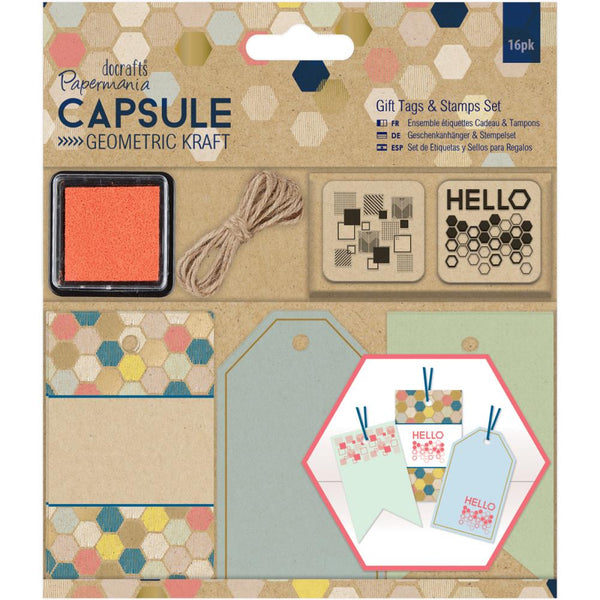 Papermania DIY Gift Tag and stamp set - 16 pieces