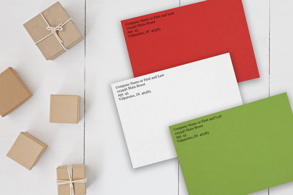 Holiday Discount Envelopes for 5x7 Christmas cards with return address
