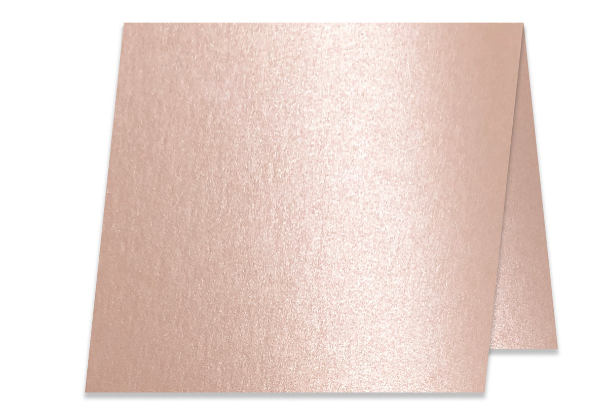 Blank Metallic 5x5 Folded Discount Card Stock - Rose Gold