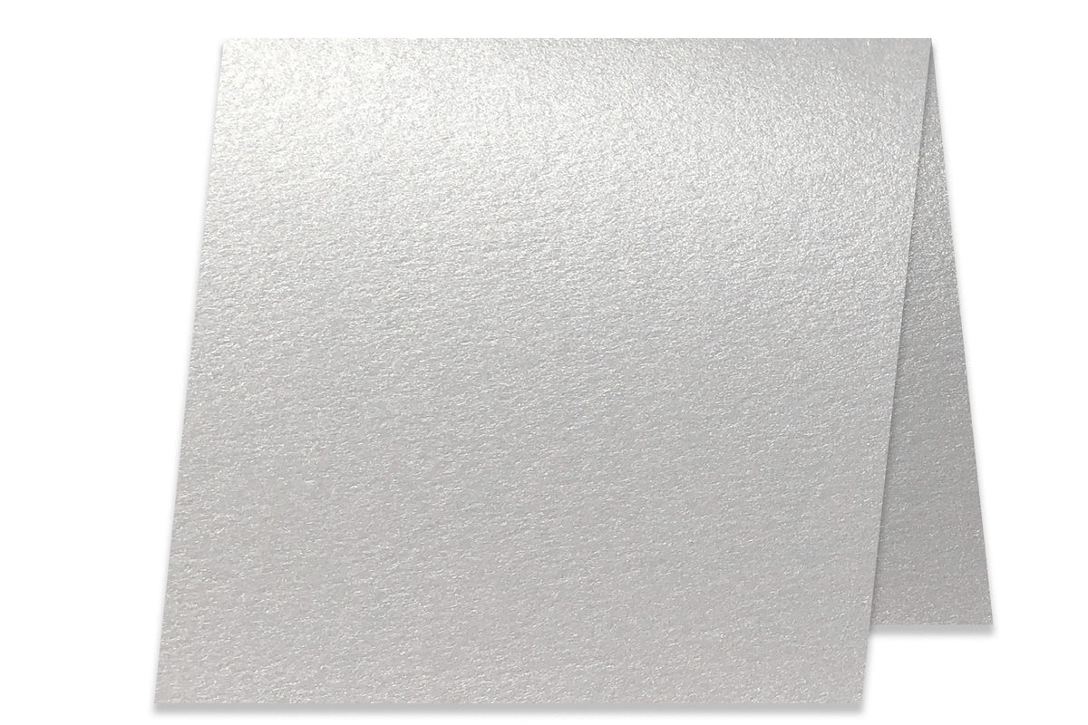 Blank Metallic 5x5 Folded Discount Card Stock - Silver White