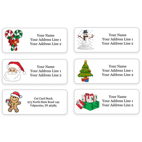 Personalized Christmas Theme Return Address Labels for Holiday Envelopes