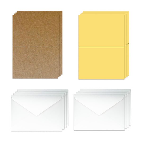 Blank 5x7 Folded Discount Card Stock and Envelopes  - Twine and Yellow