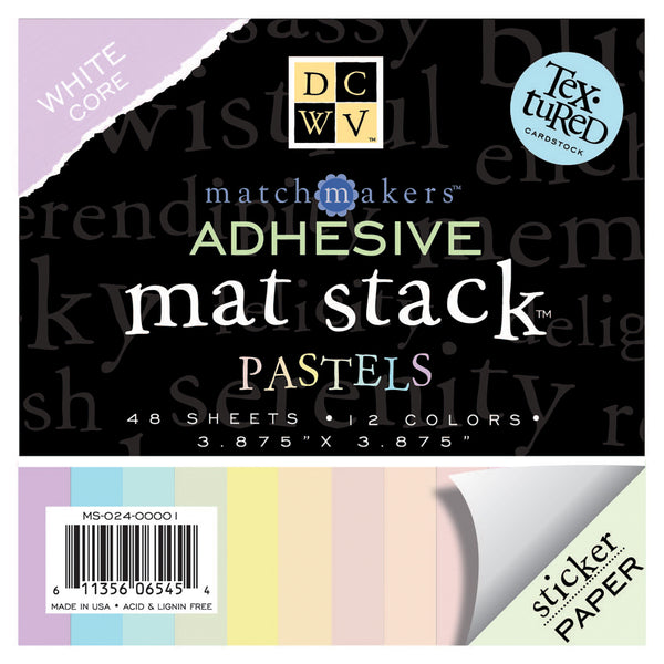DCWV Mat Stacks Textured Adhesive Pastels 3.875 Square Sticker Paper - 24 sheets