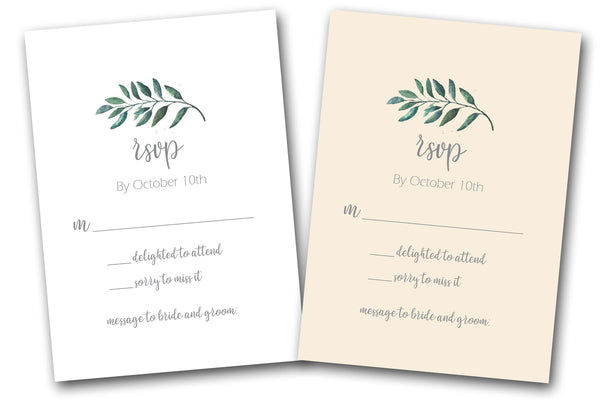 Discount greenery RSVP cards