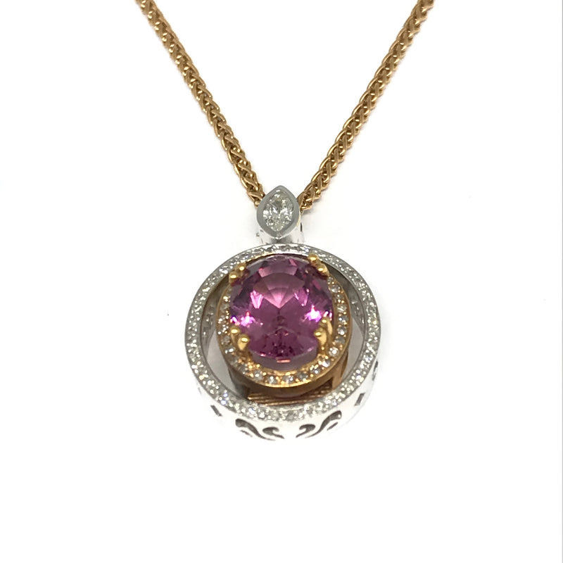 18K WHITE AND ROSE GOLD PINK GARNET PENDANT