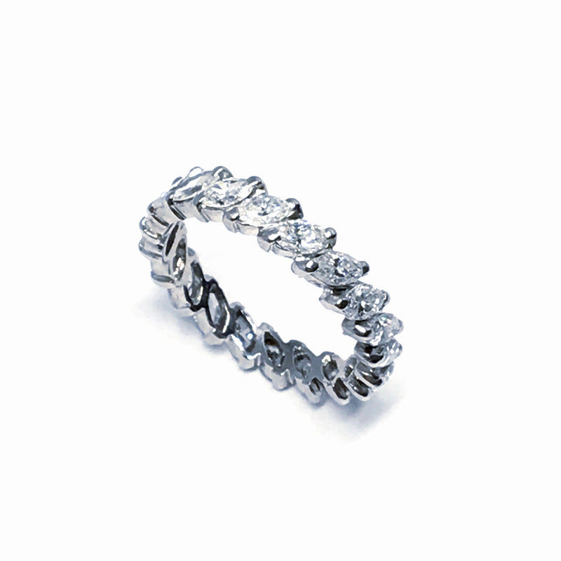 WHITE GOLD MARQUISE SHAPED DIAMOND ETERNITY BAND