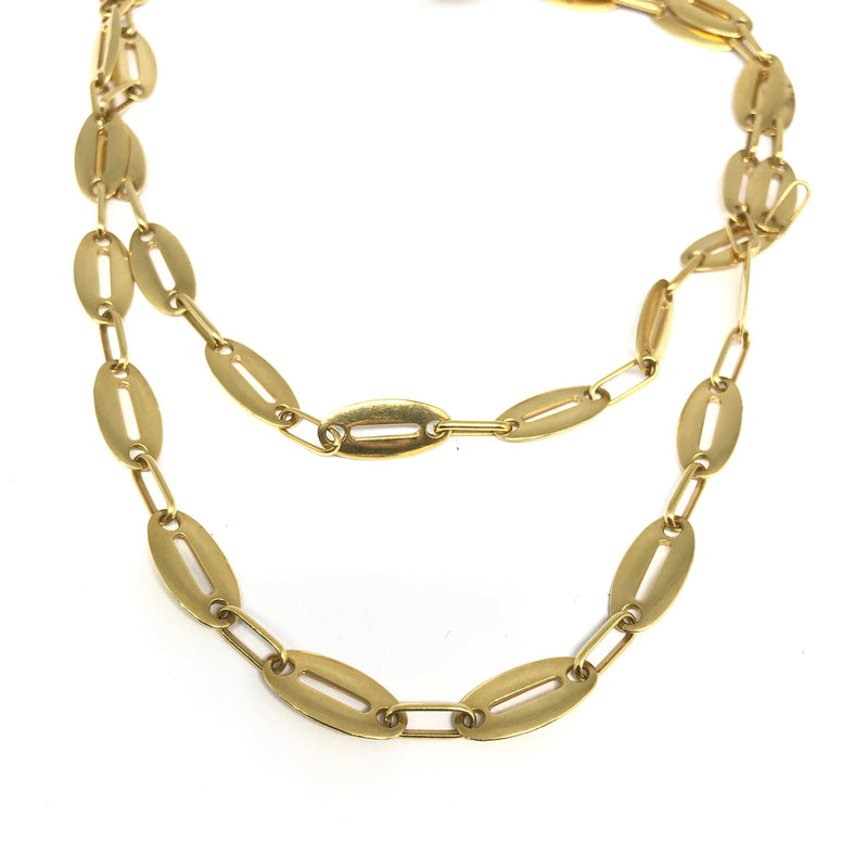 18K YELLOW GOLD OPEN FLAT OVAL CHAIN