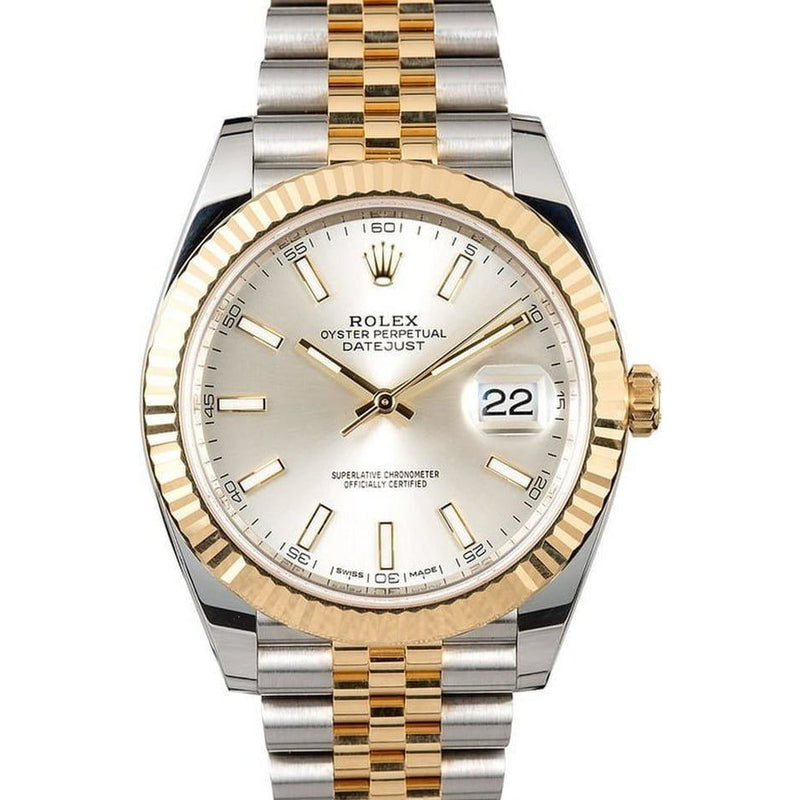 ROLEX DATEJUST 2 TONE SILVER DIAL 41MM
