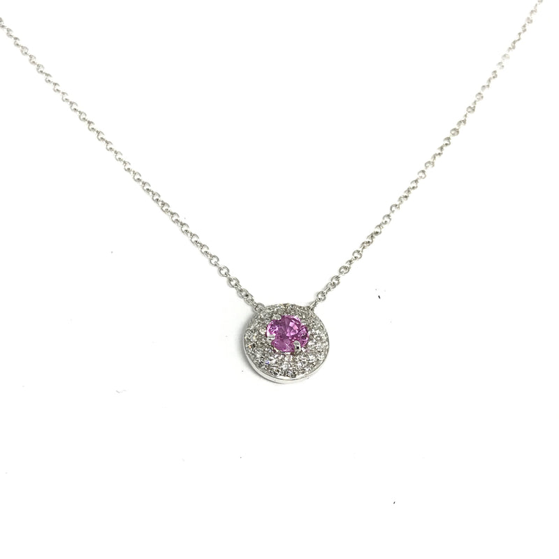 18K WHITE GOLD  PINK SAPPHIRE AND DIAMOND PENDANT 16""