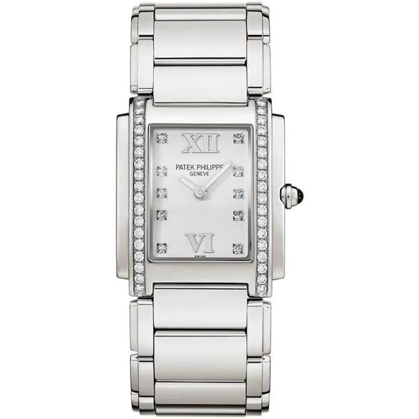 PATEK PHILIPPE TWENTY FOUR  STAINLESS STEEL & DIAMOND LADIES WATCH