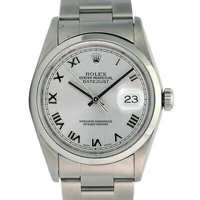 ROLEX 36MM DATEJUST RHODIUM ROMAN DIAL