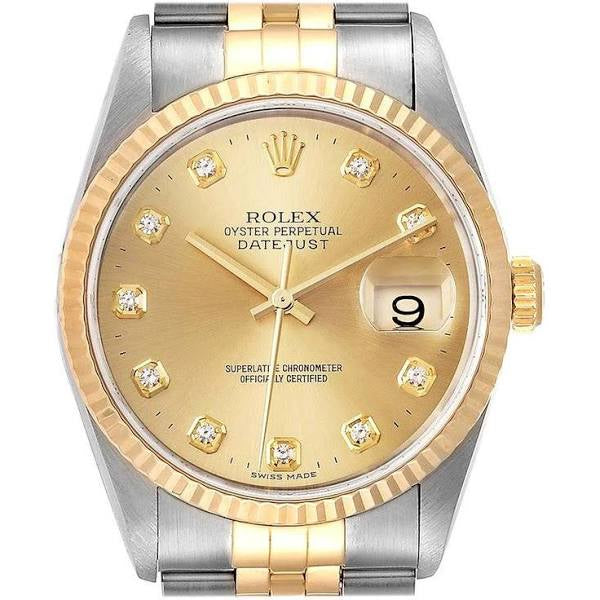 ROLEX TWO TONE DATEJUST 36MM WITH DIAMOND DIAL