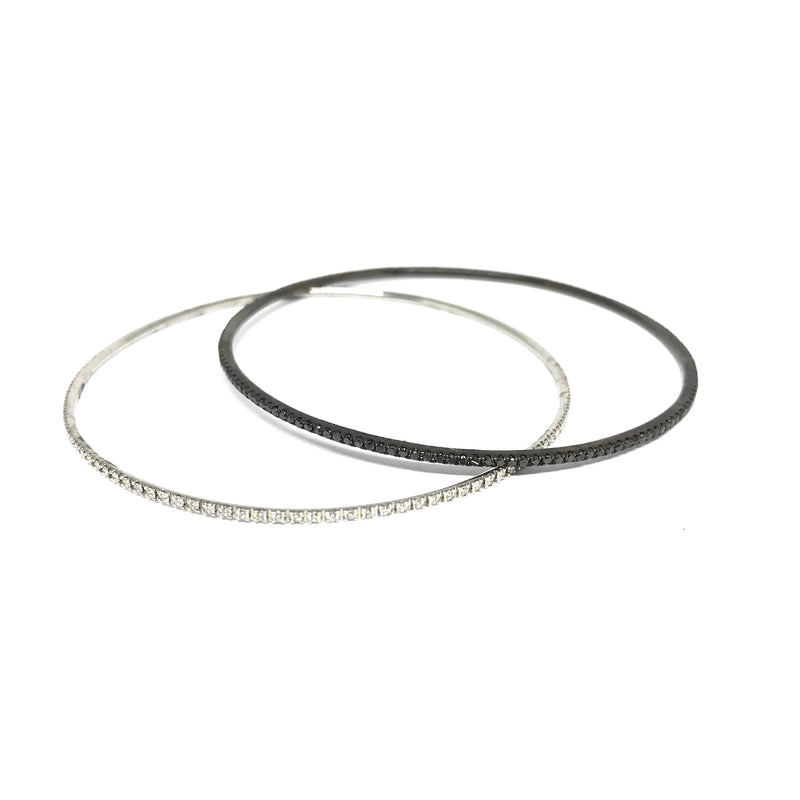 BLACK AND WHITE DIAMOND BANGLE SET