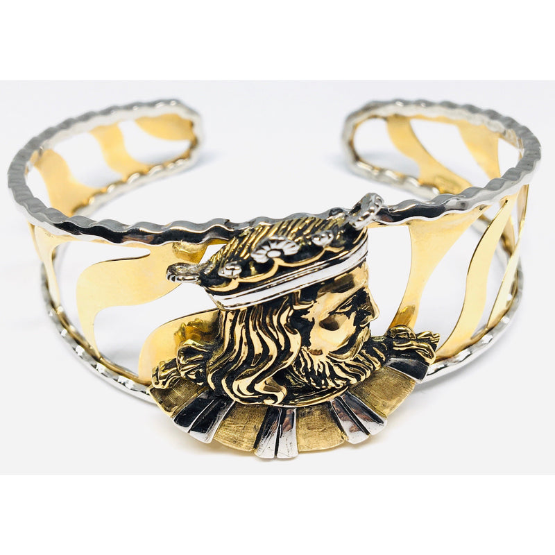14K TWO TONE KING MIDAS CUFF