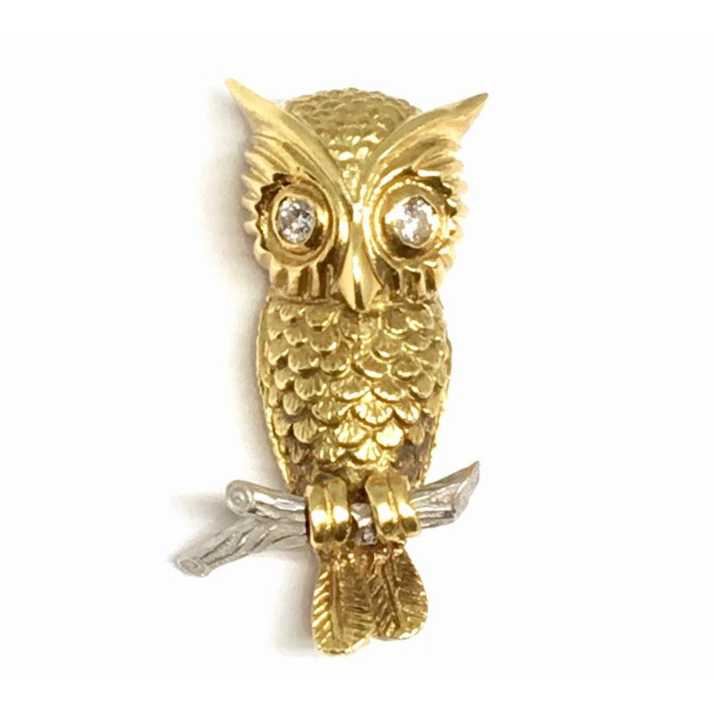 18K Gold Owl Brooch