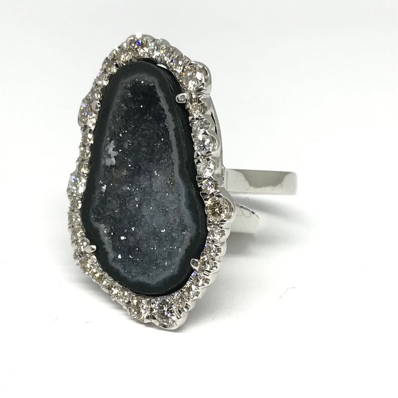 18K WHITE GOLD GEODE RING