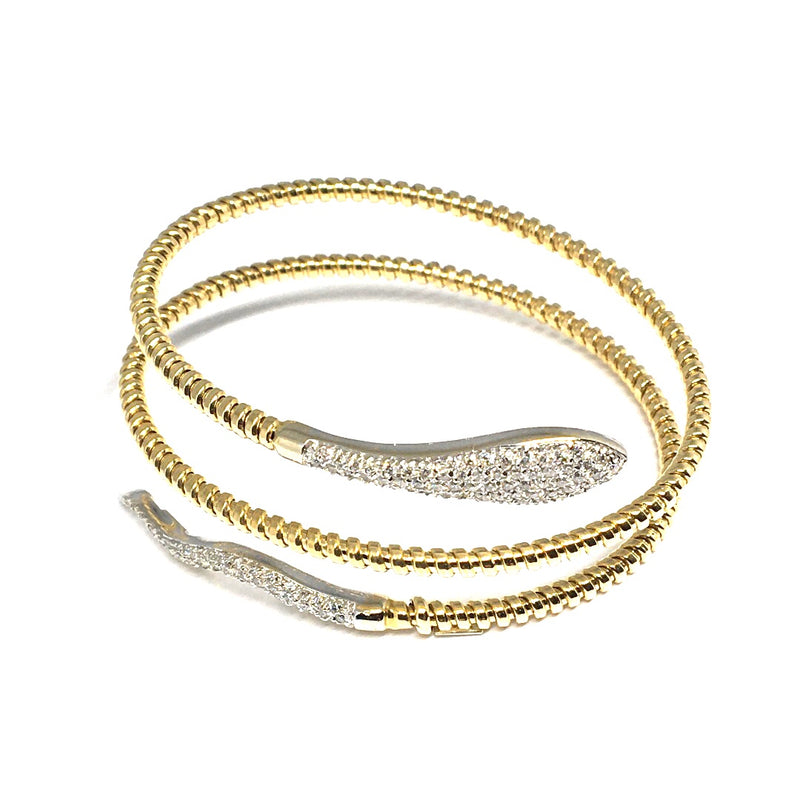 YELLOW AND WHIE GOLD DIAMOND PAVE` SNAKE BRACELET