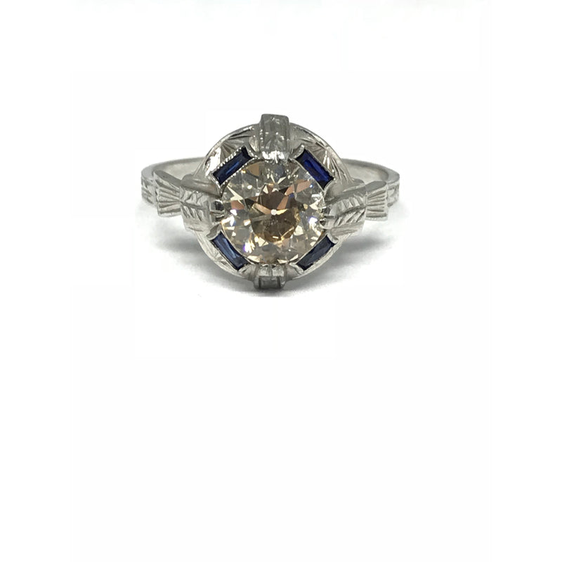 ART DECO DIAMOND RING WITH SAPPHIRE BAGUETTES
