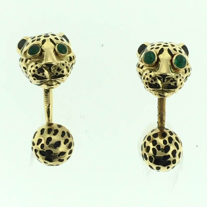 18K YELLOW GOLD AND ENAMEL PANTHER CUFFLINKS