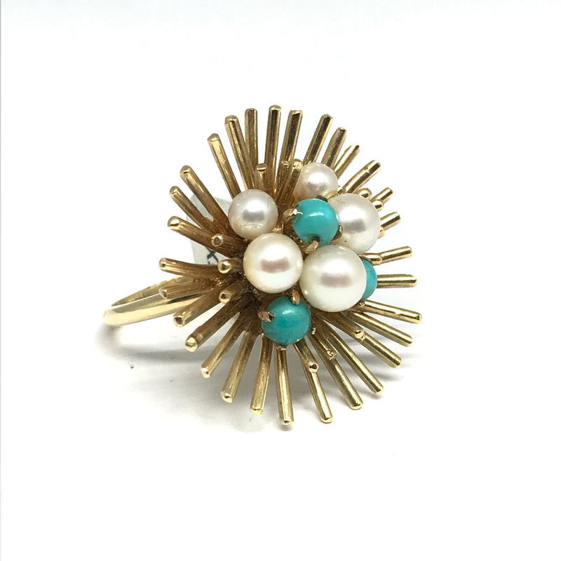 14K YELLOW GOLD PEARL AND TURQUOISE STARBURST RING CIRCA 1960'S