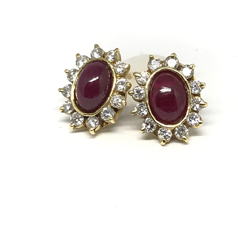 YELLOW GOLD RUBY CABOCHAN AND DIAMOND STUDS