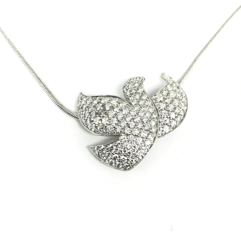 18K WHITE GOLD DIAMOND DOVE PENDANT