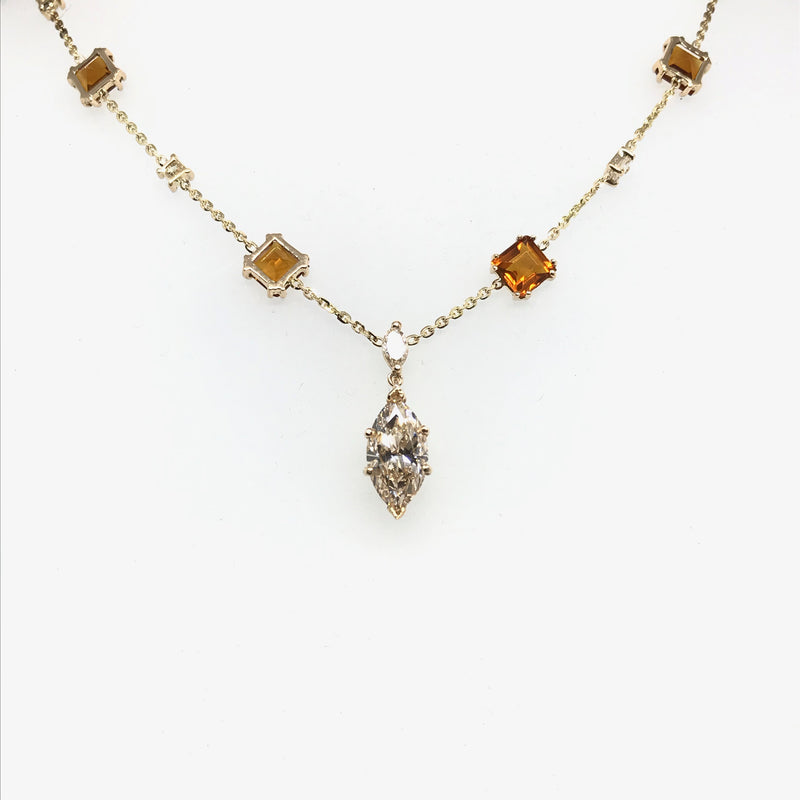 COGNAC DIAMOND NECKLACE IN YELLOW GOLD
