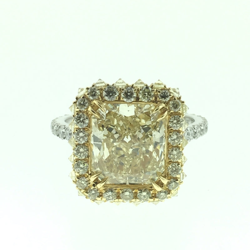 18K YG \PLAT 3.78 CT RADIANT FLY DIAMOND RING