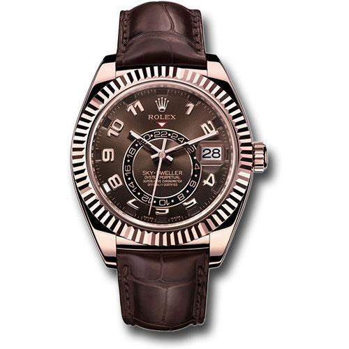 ROLEX ROSE GOLD CHOCOLATE DIAL SKYDWELLER