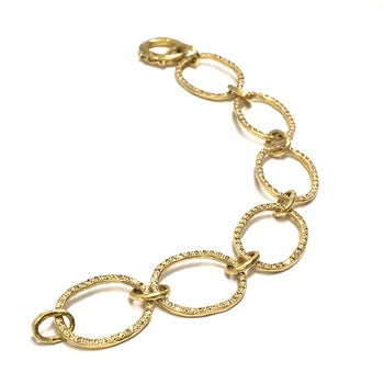 YELLOW GOLD OVAL DIAMOND PAVE LINK BRACELET