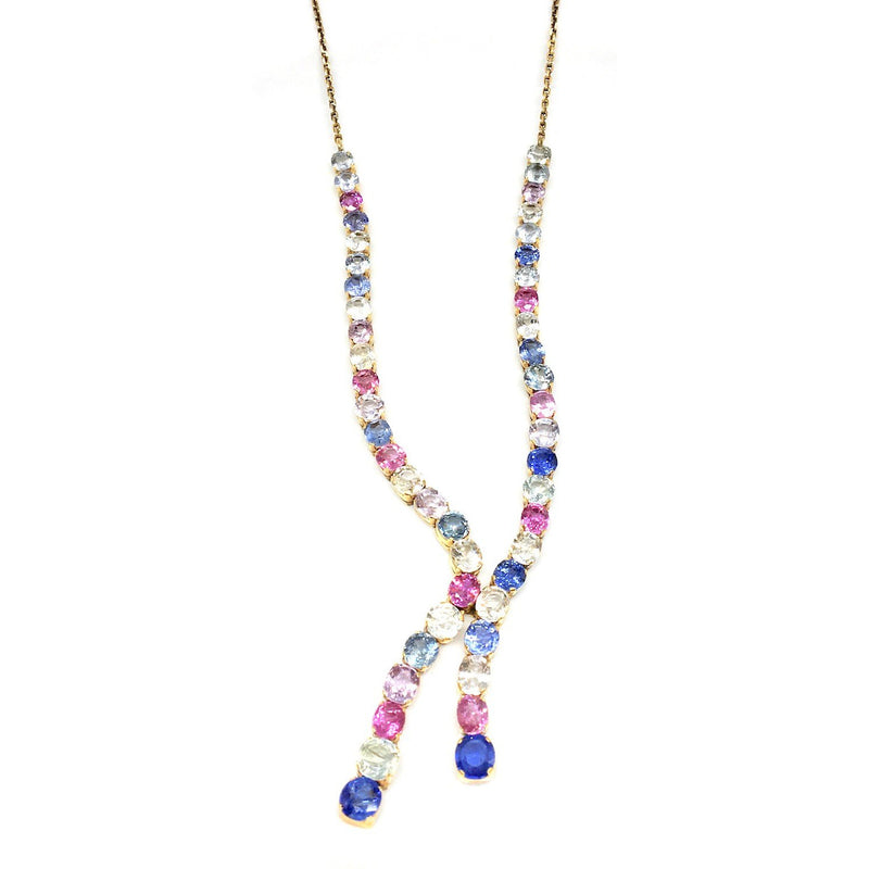 38 CARAT MULTI SAPPHIRE YELLOW GOLD NECKLACE