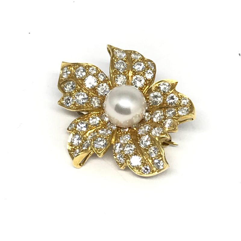 DIAMOND & PEARL PANSY BROOCH