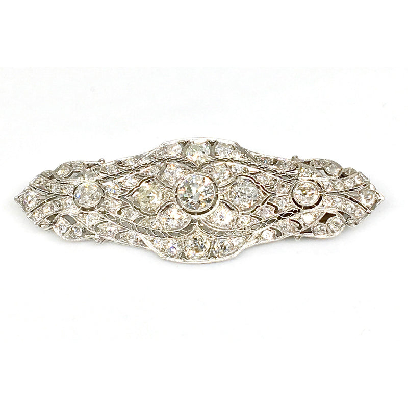 WHITE GOLD ART DECO DIAMOND BROOCH
