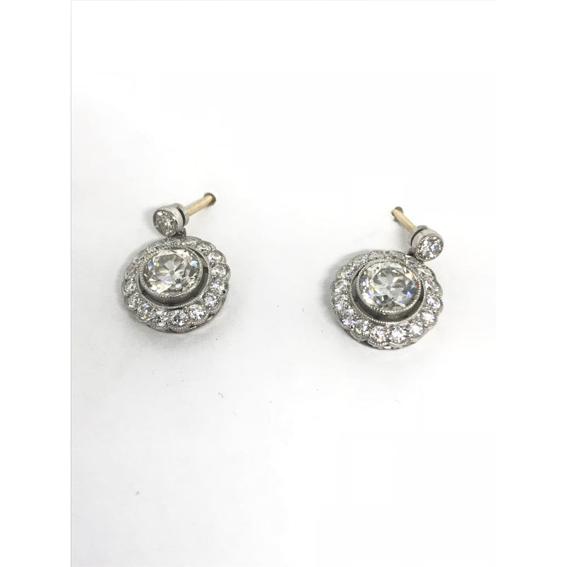 DECO STYLE CLUSTER ROUND DIAMOND DROP EARRINGS