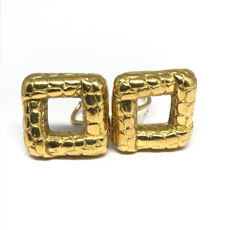 TIFFANY 18K YELLOW GOLD OPEN SQUARE EARRINGS