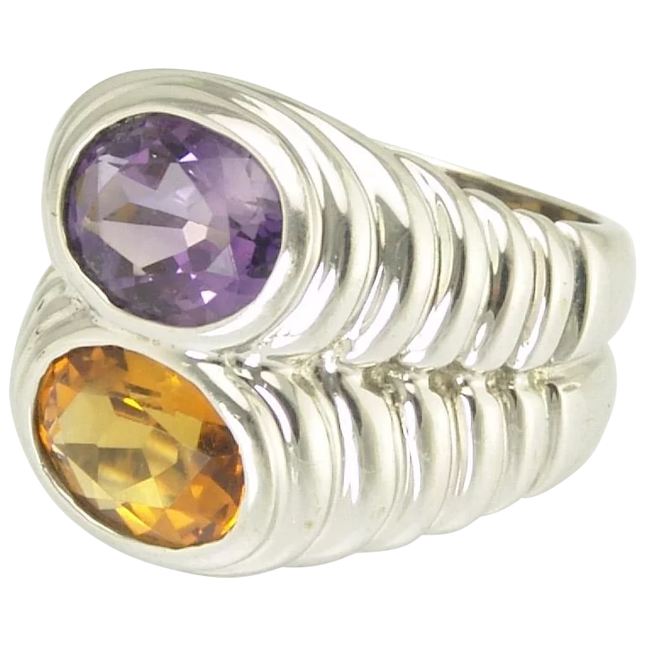 WHITE GOLD BULGARI AMETHYST AND CITRINE RING