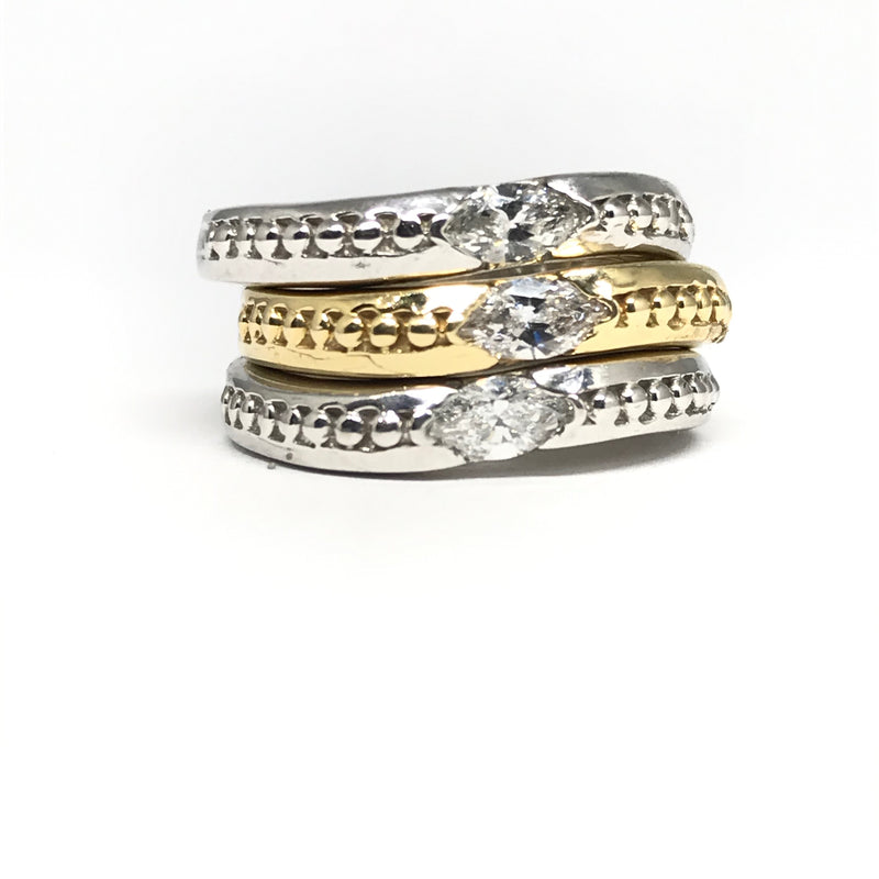 14K white and yellow gold diamond stack rings
