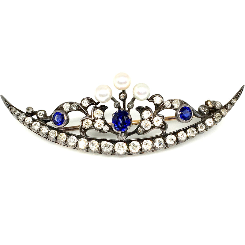 14K WHITE GOLD AND SILVER EARLY VICTORIAN BROOCH